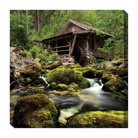 West of the Wind Rustic River Outdoor Canvas Art - 24 x 24 -