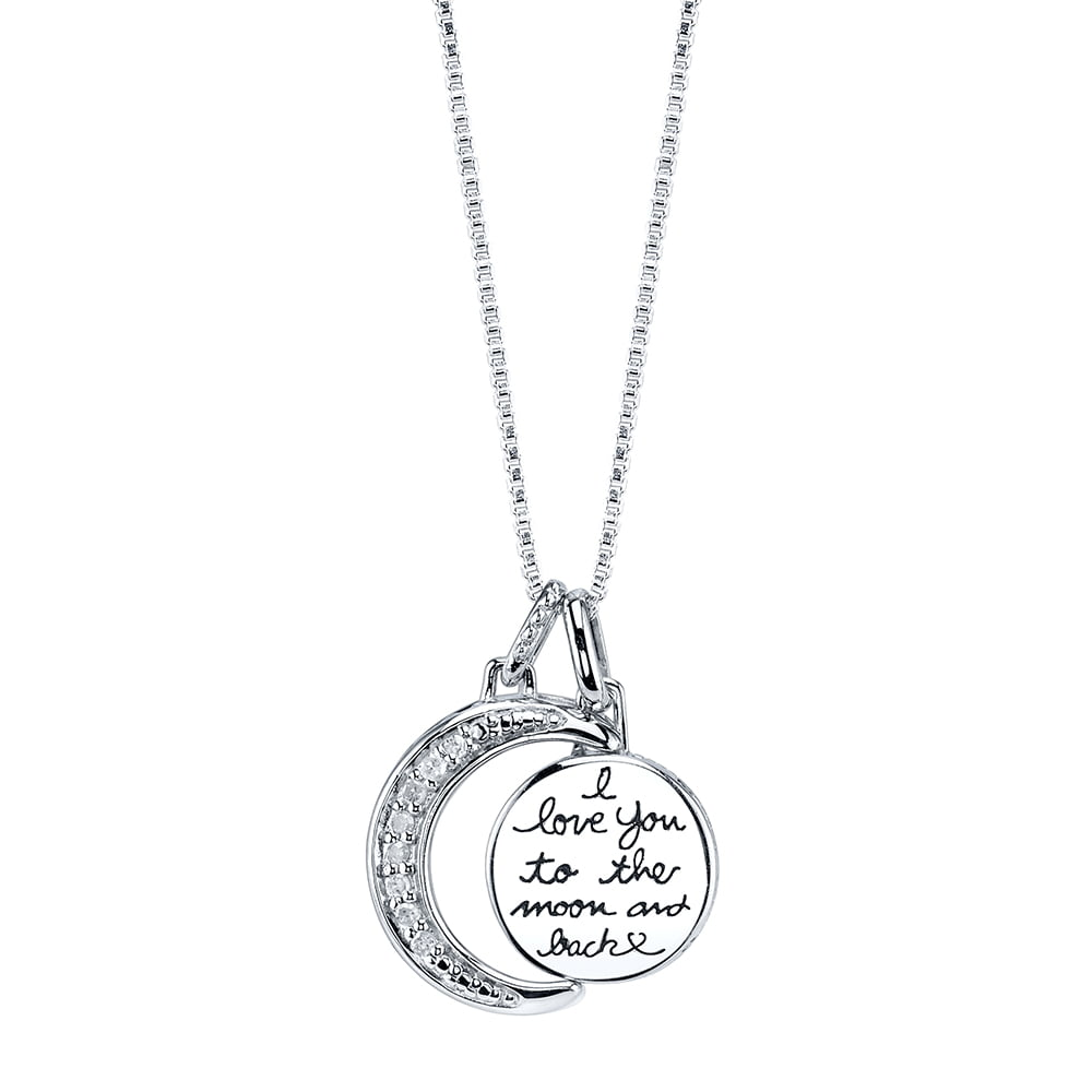 """Family/_/_/_/_/_/_ Gift /""""I Love You To The Moon and Back/"""" Two-Piece Pendant Necklace"""