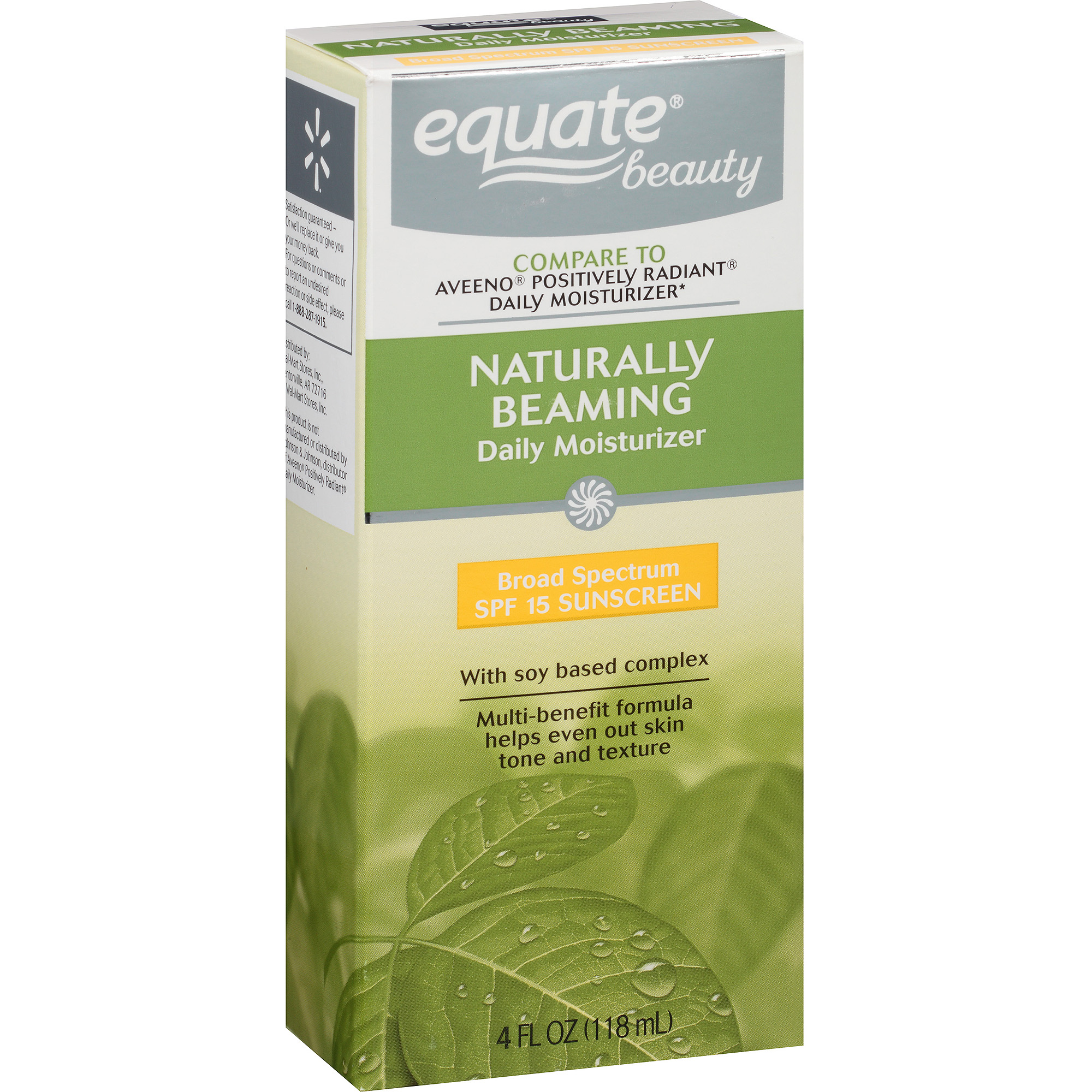 Equate Naturally Beaming Daily Moisturizer with Soy Based Complex, 4 fl oz