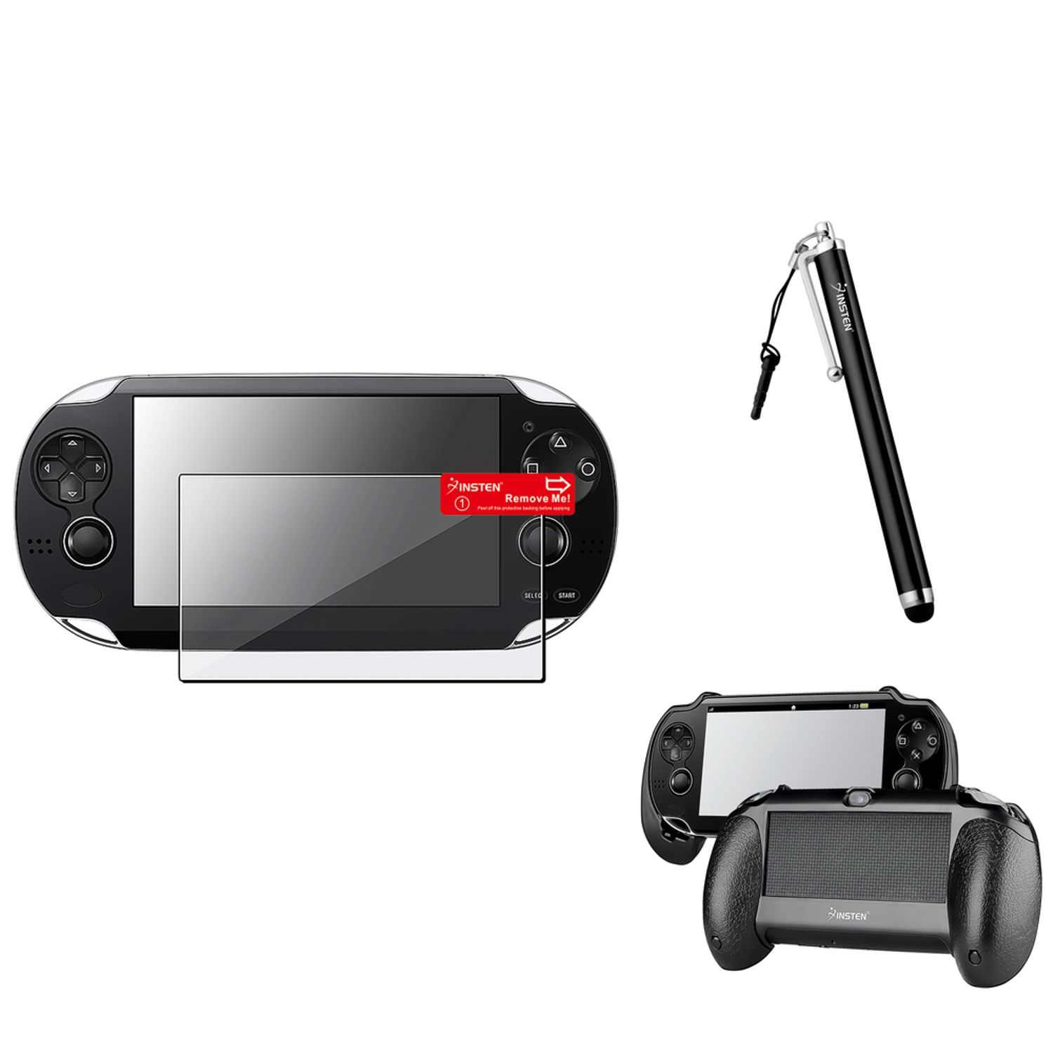 Insten Black Hand Grip+Clear Screen Protector+Black Touch Stylus For Sony PS Vita PSV