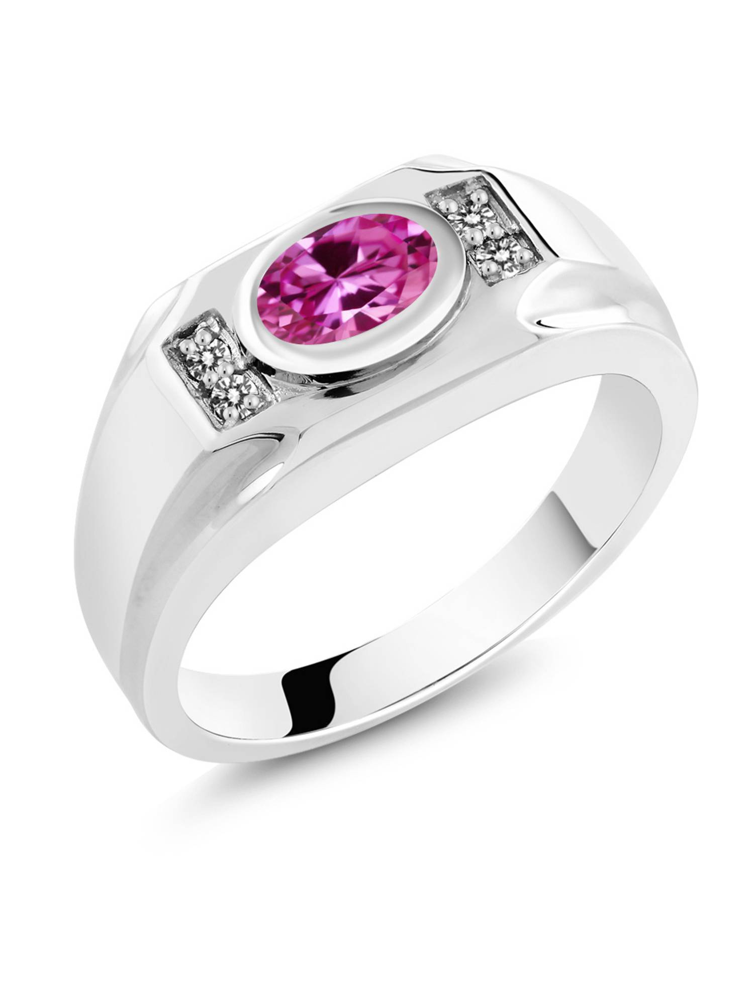 Gem Stone King 1.78 Ct Oval Pink Created Sapphire White Diamond 925 Sterling Silver Mens Ring