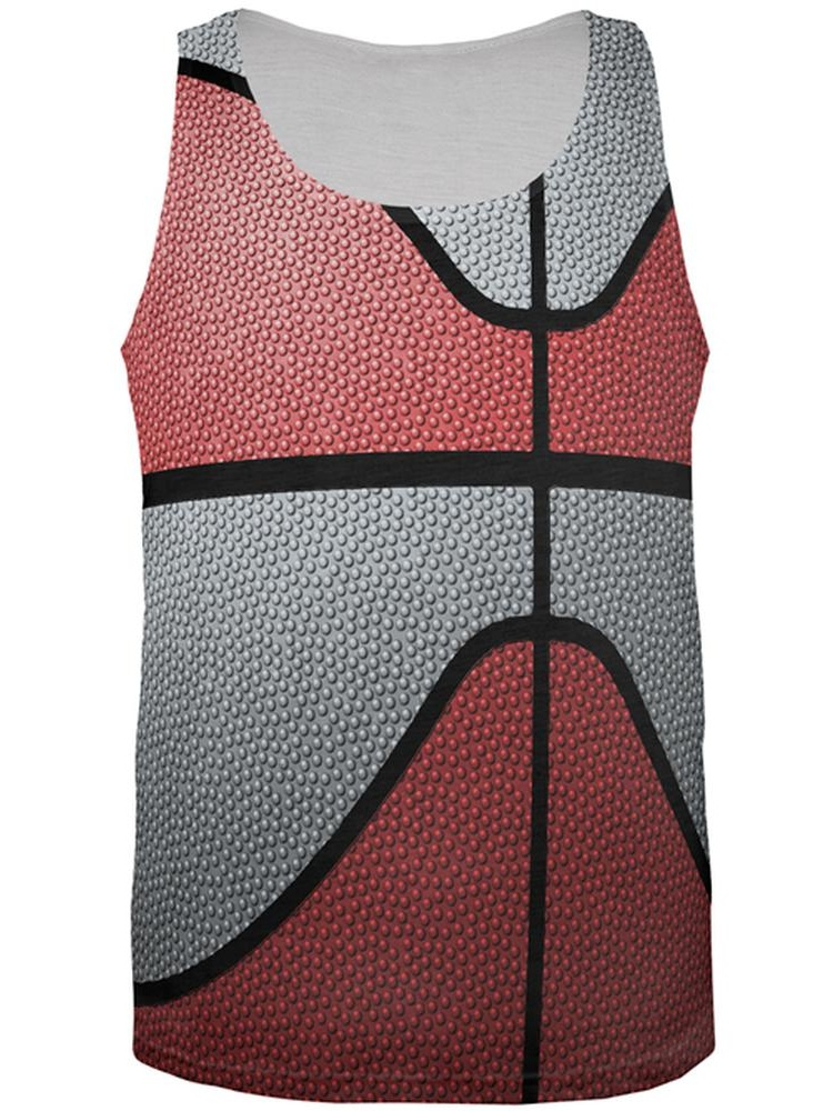 Championship Basketball Red and Silver All Over Mens Tank Top