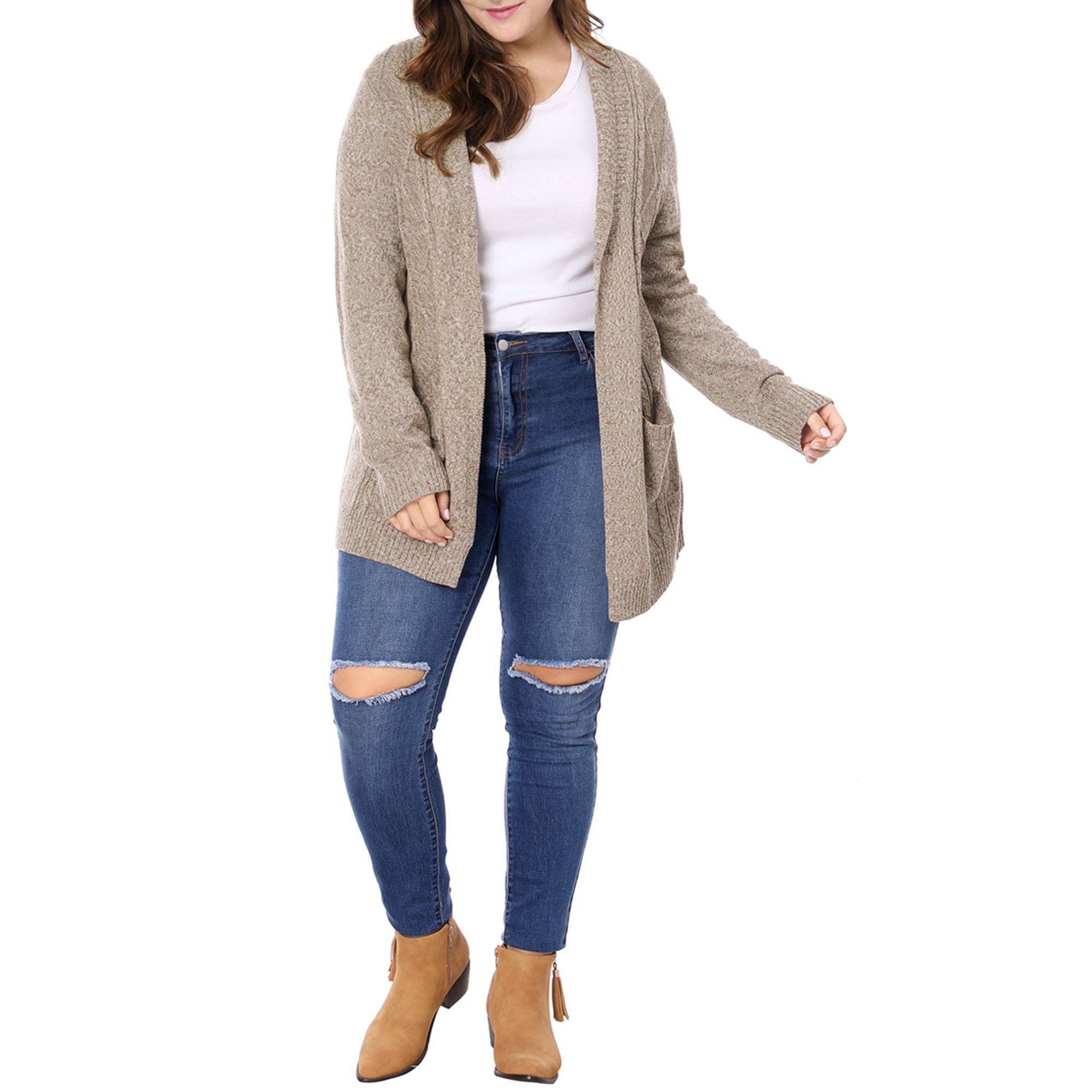 Women's Plus Size Open Front Cardigan Sweater Grey