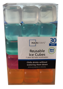 Reuseable Square Ice Cubes Lot Of 24 Total Bright Colors New