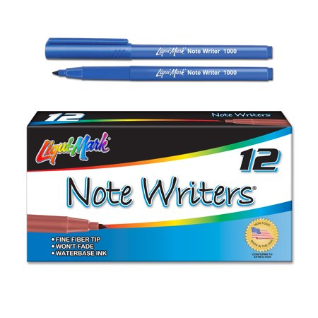 Note Writer - Waterbase Ink Fiber Point Pocket Markers - Blue Case Pack of 36