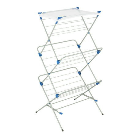 Honey Can Do Steel 3-Tier Mesh Top Drying Rack, Silver/Blue