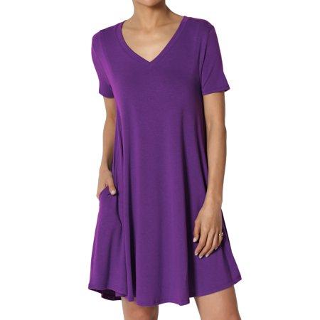 TheMogan Women's PLUS Short Sleeve V-Neck Draped Trapeze Pocket Short Tunic Dress (Pink Dresses For Kids)