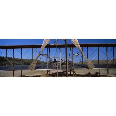 Wright Flyer Sculpture At Wright Brothers National Memorial Kill Devil Hills Kitty Hawk Outer Banks North Carolina Usa Canvas Art   Panoramic Images  27 X 9