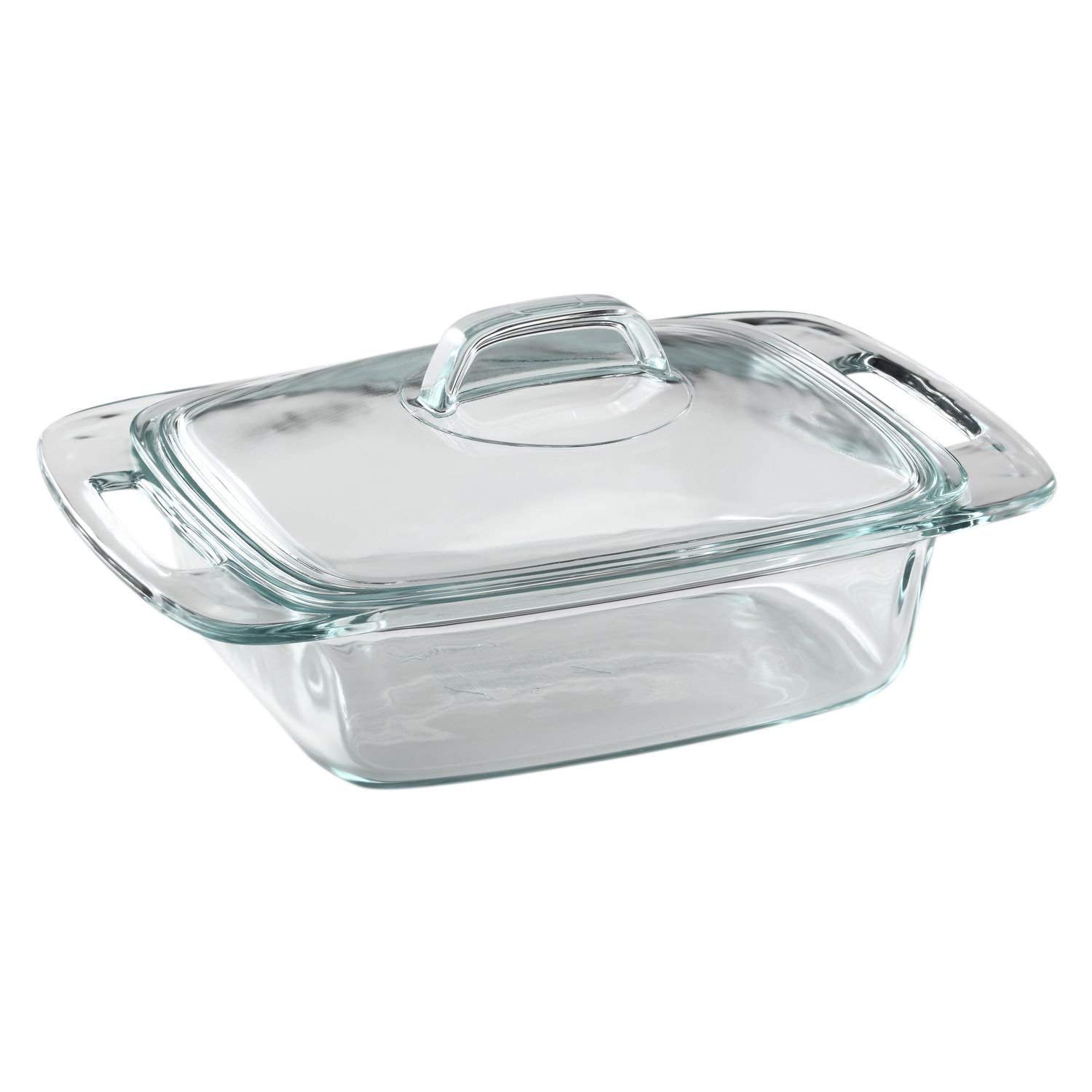 Bakeware 2-Quart Casserole Dish with Lid (Rectangular w Large Handles), 2-quart small glass casserole dish... by