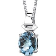 """Peora 3.00 Carat T.G.W. Oval Shape Checkerboard Cut Swiss Blue Topaz Rhodium over Sterling Silver Pendant, 18"""""""