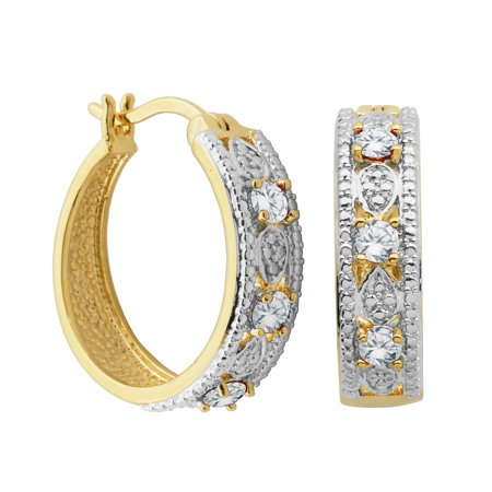 14k Yellow Gold Over Fine Silver Plated Bronze Genuine White Topaz and Diamond Accent Hoop Earrings