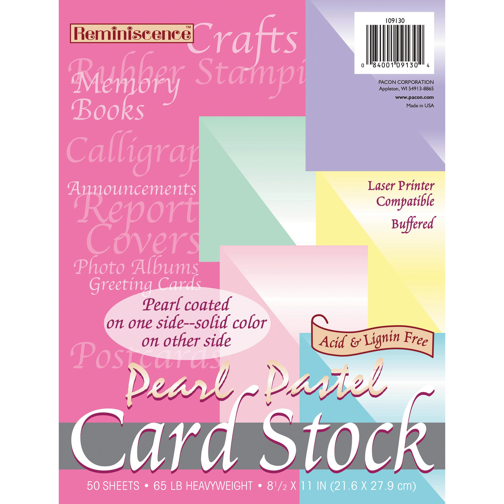 Pacon, PAC109130, Pearl Cardstock, 1 Pack, Pink,Green,Canary,Blue,Lilac