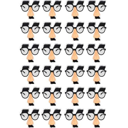 Disguise Glasses With Funny Nose - Eyebrows And Mustache - 24 Pack - For Kids Great Party Favor, Fun, Fiesta, Costume, Halloween, Cinco De Mayo - By Kidsco](Adornos Fiesta Halloween)
