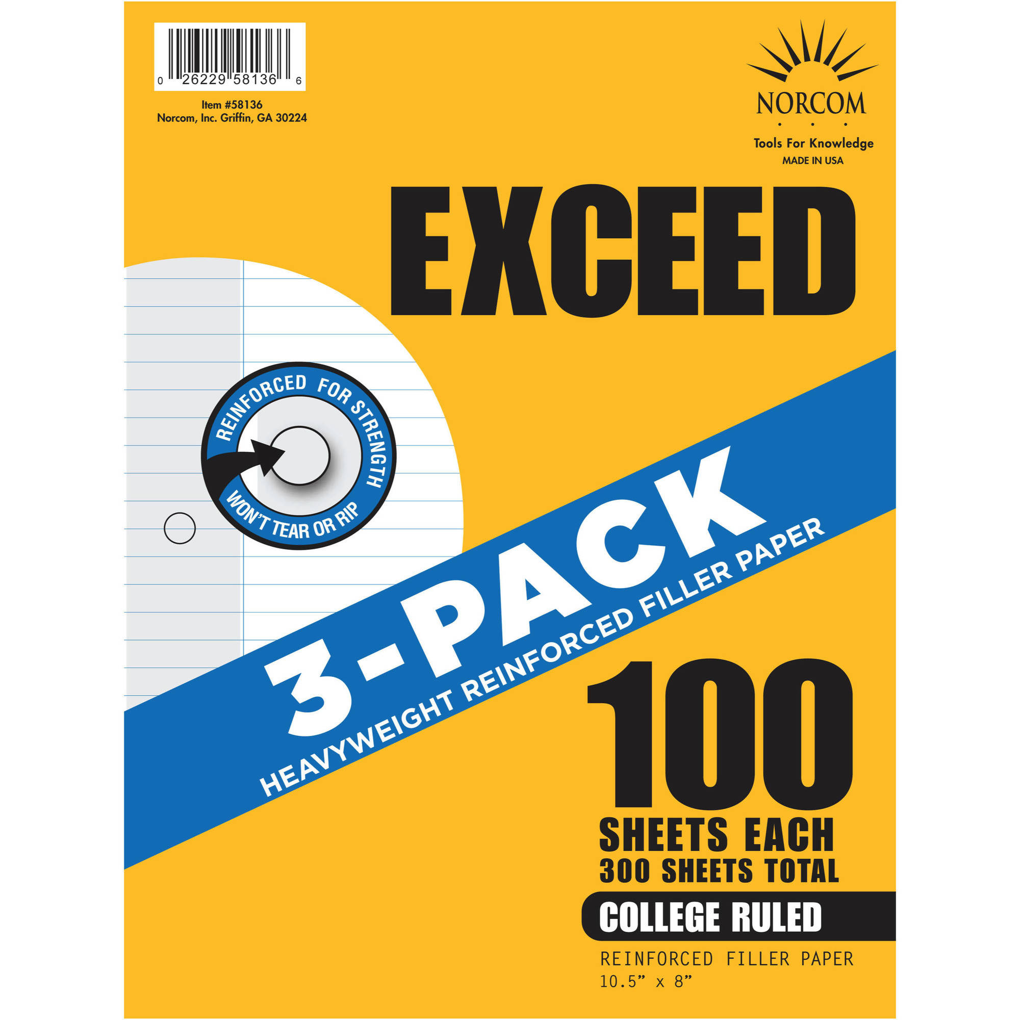 "Exceed 3-Pack Reinforced Filler Paper, College Ruled, 100 Sheets, 10.5"" x 8"""