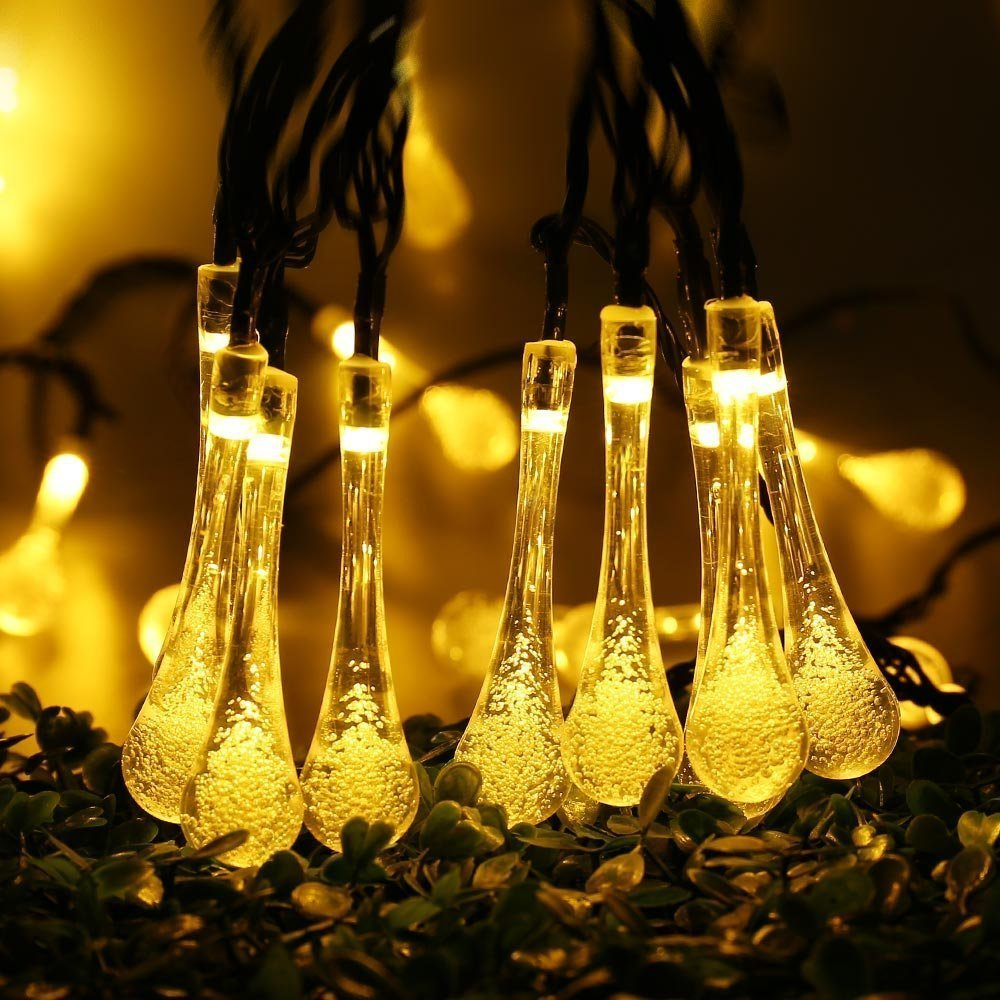 Christmas String Lights, Patio Solar Christmas Lights Crystal Water Drop  19.2ft 30 LED Outdoor