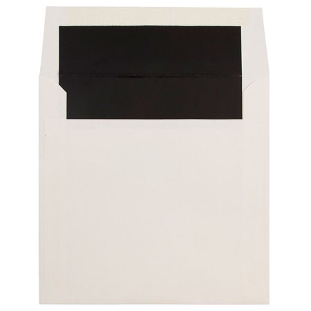 JAM Paper 7 1/4 x 7 1/4 Square Glossy Lined Envelopes, Natural White with Black Glossy Lining, (Printed Envelope Lining)