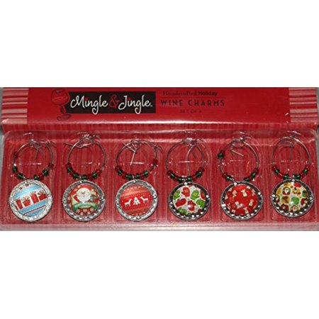 Mingle & Jingle Handcrafted Metal and Glass Medallion Style Christmas Wine Glass Charms, Set of 6 (Santa)