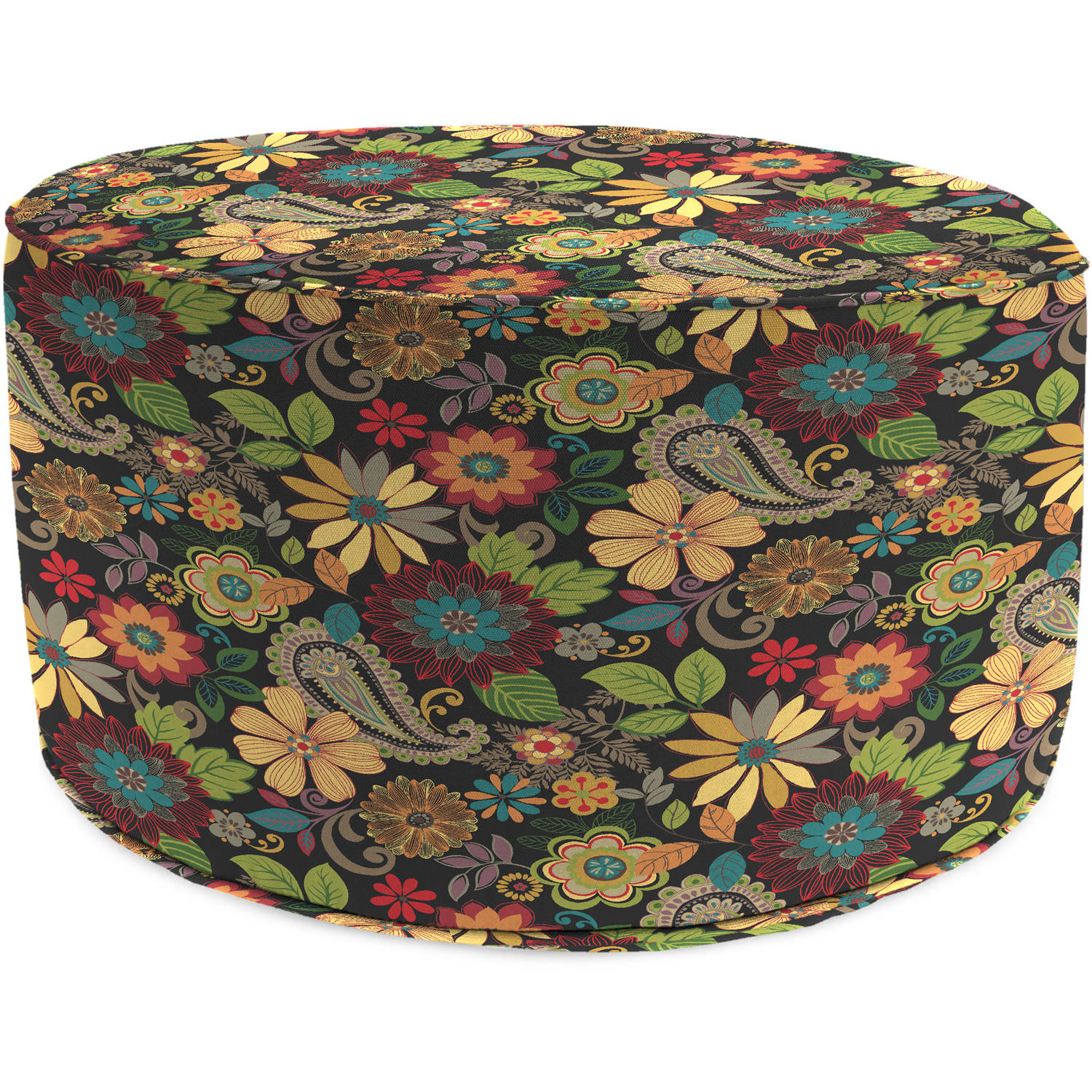 Jordan Manufacturing Outdoor Patio Round Pouf Ottoman