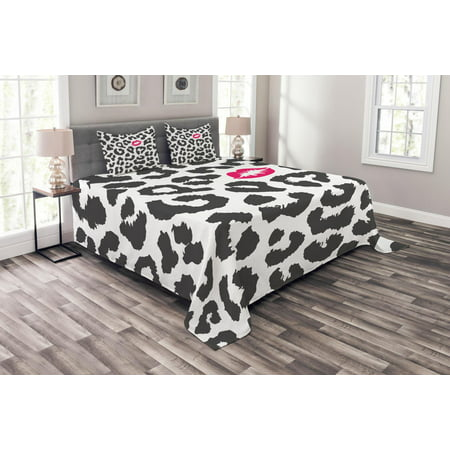 Safari Bedspread Set, Leopard Cheetah Animal Print with Kiss Shape Lipstick Mark Dotted Trend Art, Decorative Quilted Coverlet Set with Pillow Shams Included, Charcoal Grey Pink, by Ambesonne ()