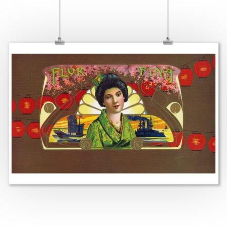 Flor Fina Brand Cigar Inner Box Label - Asian (View of a Geisha) (9x12 Art Print, Wall Decor Travel (Geisha Art)