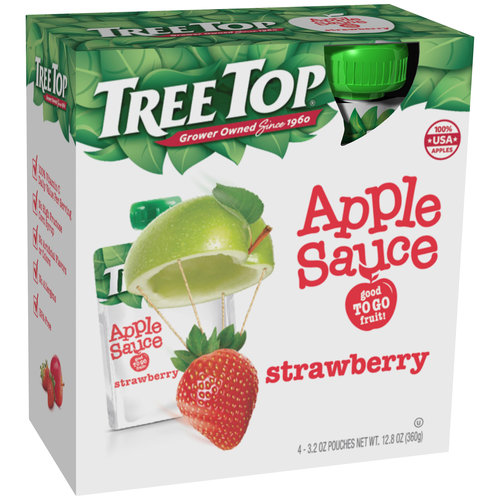 (3 Pack) Tree Top® Strawberry Apple Sauce 4-3.2 oz. Pouches