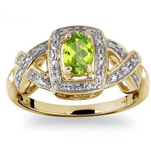 JewelersClub 0.48 Carat T.G.W. Peridot Gemstone and 1 20 Carat T.W. White Diamond Ring by JewelersClub