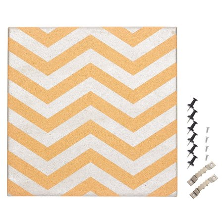 Cork Bulletin Board - Decorative Wall Décor Cork board with Silver Chevron Design, 6 Push Pins Included for Pinning Memos and Reminders, 15.7 x 15.7 x 0.7 inches