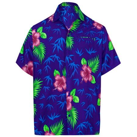 Men's Relaxed Fit Aloha Hawaiian Short Sleeves Casual Loose Hawaiian Shirt blue](Hawaian Shirts)