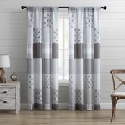 """84"""" Farmhouse Window Curtains 2-Panel Pair Rustic Patchwork, Grey White"""
