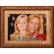 5X7 Jumbo ~ Me & My Mommy Landscape Picture Frame ~ Laser Cut Oak Veneer Mat With Fruitwood Frame