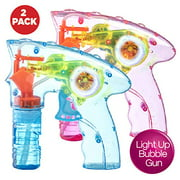 Wind up Bubble Gun Shooter LED Light up Bubble Blower Indoor and Outdoor Toys for Puppys Kids Boys and Girls no Batteries Needed-pack of 2