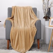 Luxury Decorative Flannel Fleece Blanket Soft Sofa Throw Couch Cover Plush Microfiber Blanket Taupe 130 x 150 cm