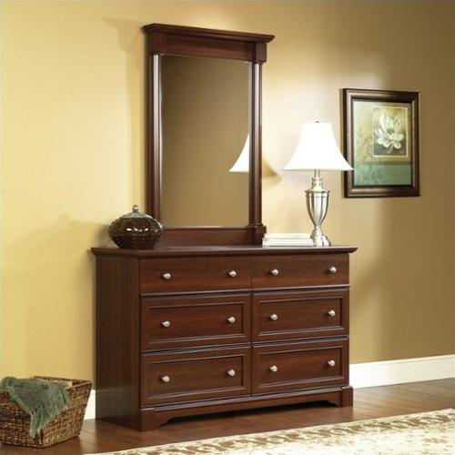 Sauder Palladia Six Drawer Dresser and Mirror Set in Select Cherry Finish