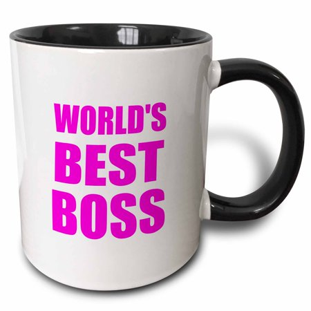 3dRose Worlds Best Boss - hot pink text - great design for the greatest boss - Two Tone Black Mug, (Best Hot Tubs In The World)
