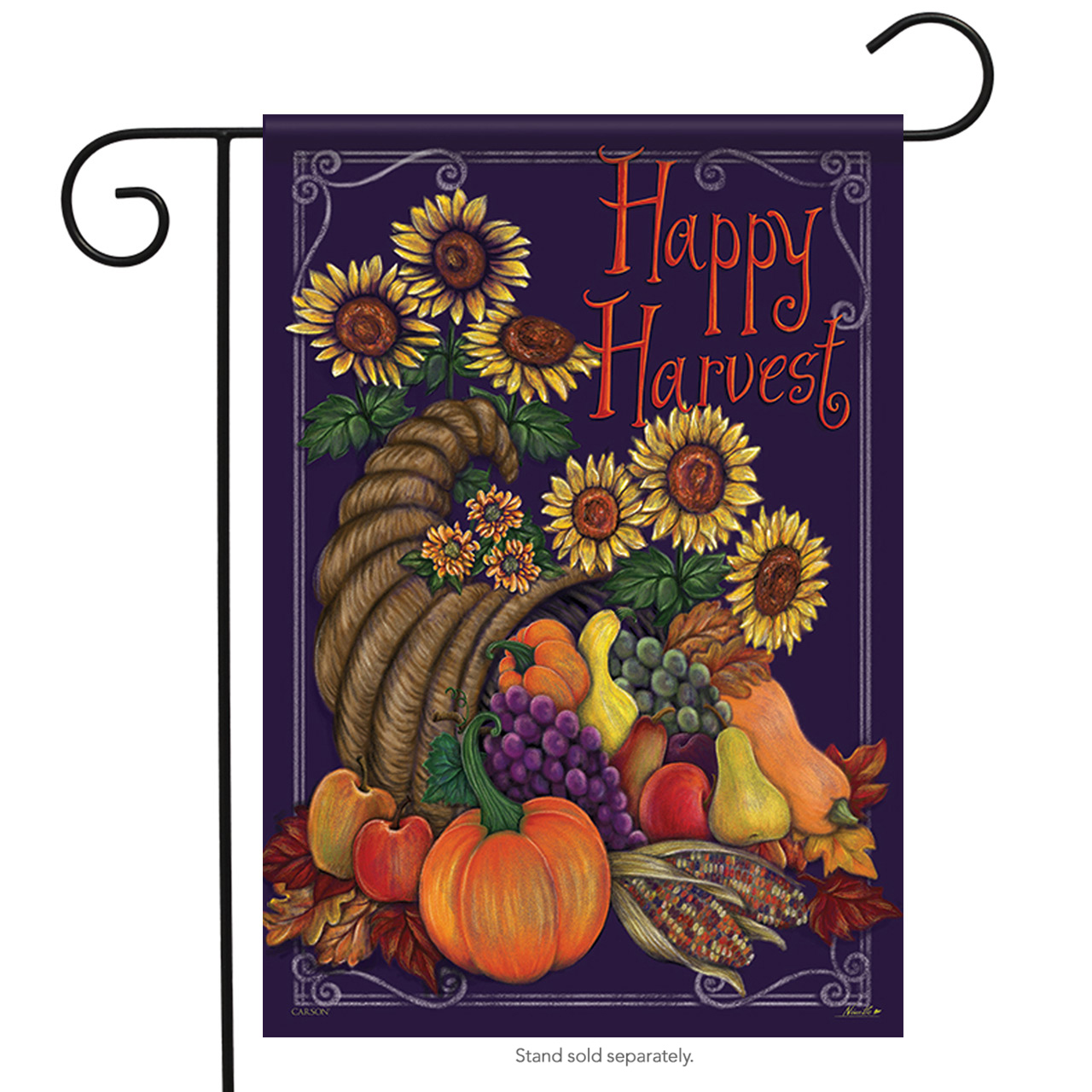 "Sunflower Cornucopia Thanksgiving Garden Flag Pumpkin Fall 2 Sided 12.5"" x 18"""