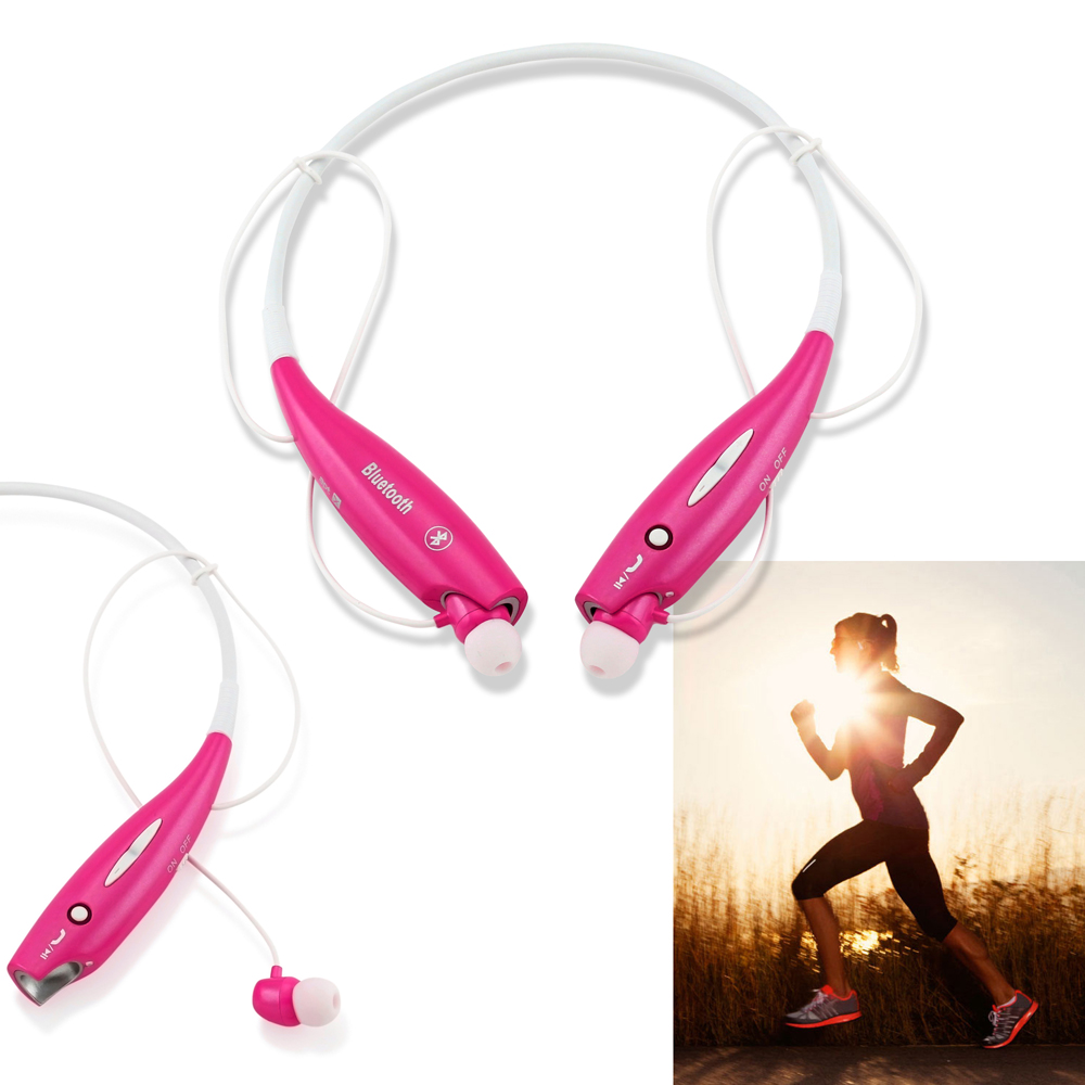 Wireless Sport Stereo Headset Bluetooth Earphone Workout Gym Running Exercise Hands-free headphone Earbuds for Universal Samsung LG iPhone -Hot Pink