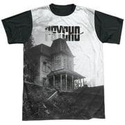 Psycho 1960 Myster Horror Movie Bates House Poster Adult Black Back T-Shirt