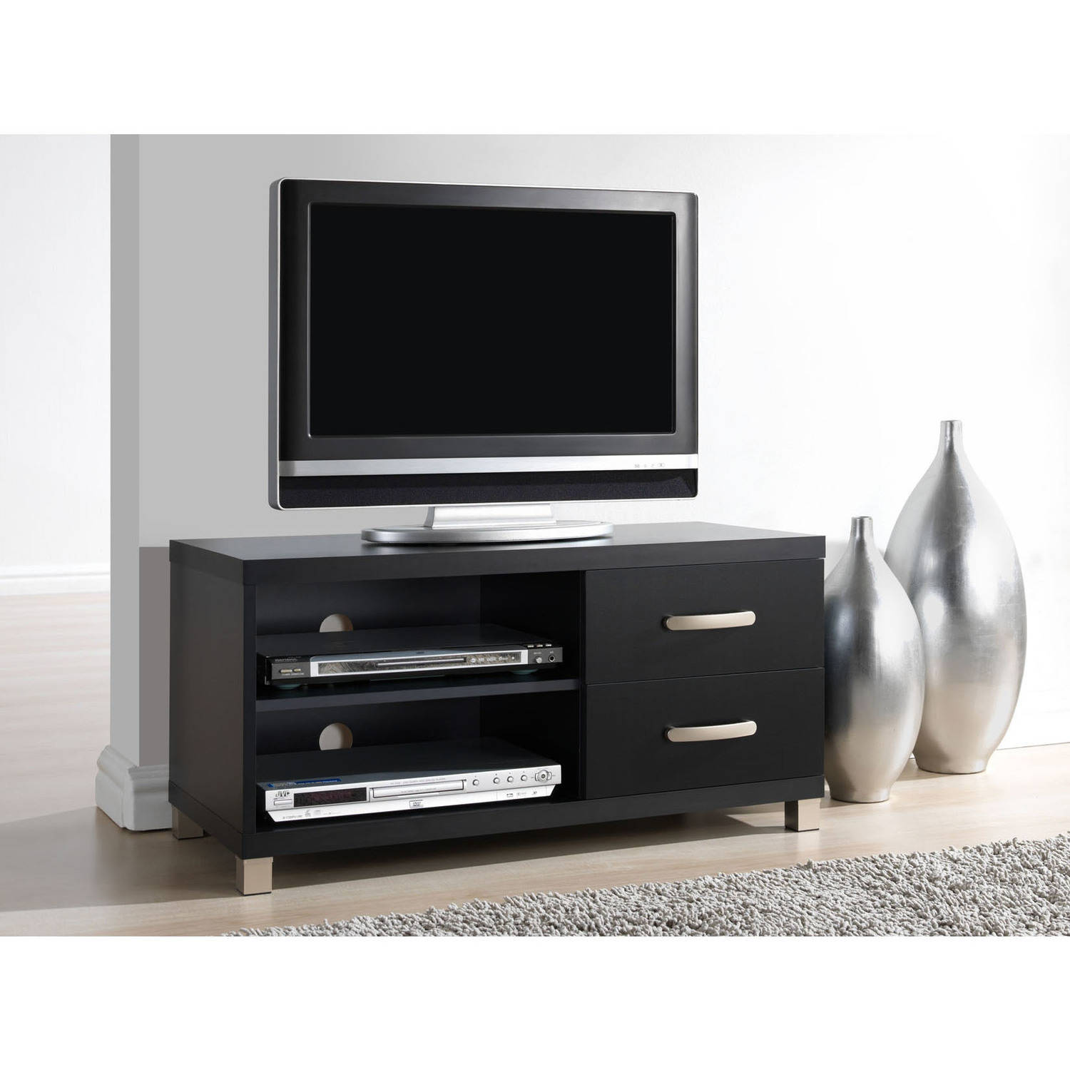 """Techni Mobili Modern TV Stand with Storage for TVs Up To 40"""", Black (RTA-8896-BK)"""