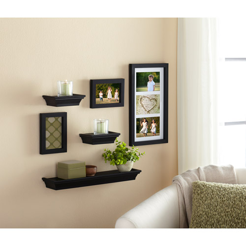 Mainstays 6-Piece Shelf and Frame Set, Black