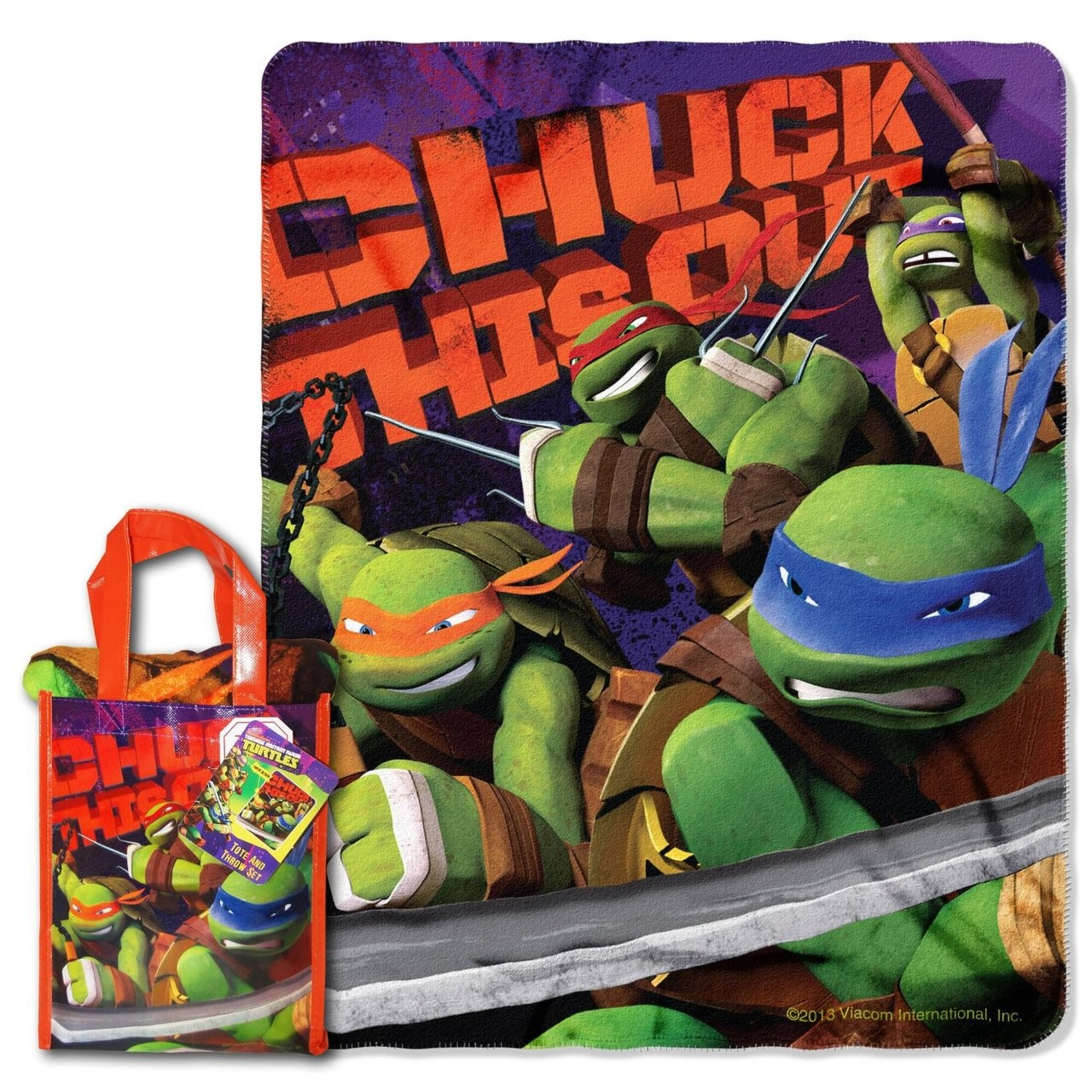 "Nickelodeon TMNT ""Ninja Chuck"" 40-inch by 50-inch Micro Raschel Throw and Reusable Tote Set - by The Northwest Company"