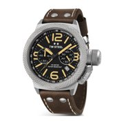 Mens Stainless Steel Case Canteen Brown Leather Skeleton Black Dial Silver Watch - CS33