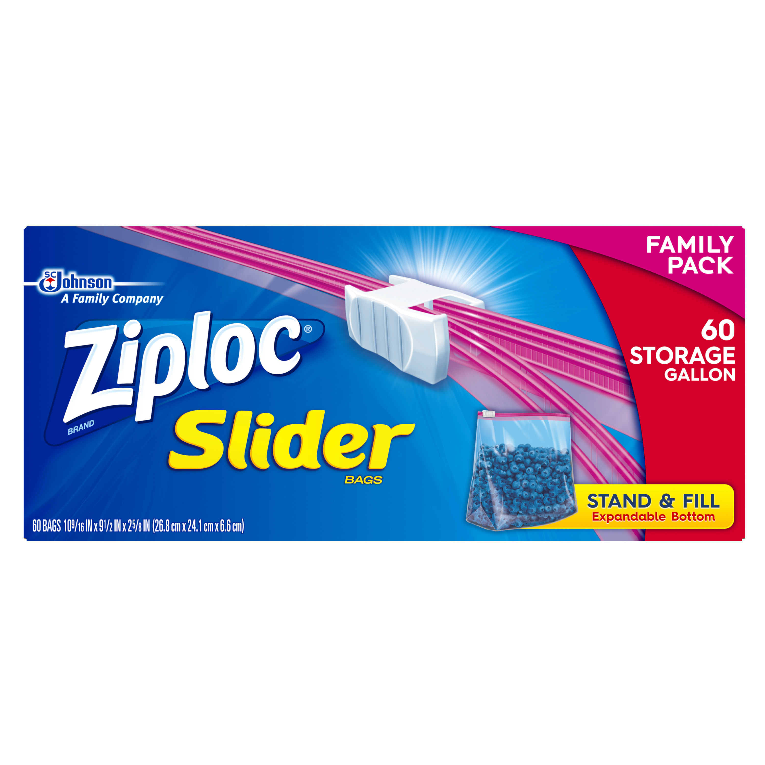 Ziploc Slider Zipper Bags, Gallon, 60 Ct