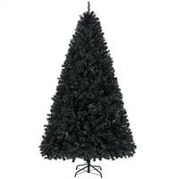 SmileMart 6' Foldable Christmas Tree with Lights (Black)