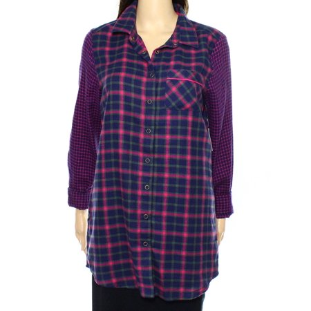 Make   Model Nordstrom New Purple Womens Xs Plaid Button Down Sleepshirt
