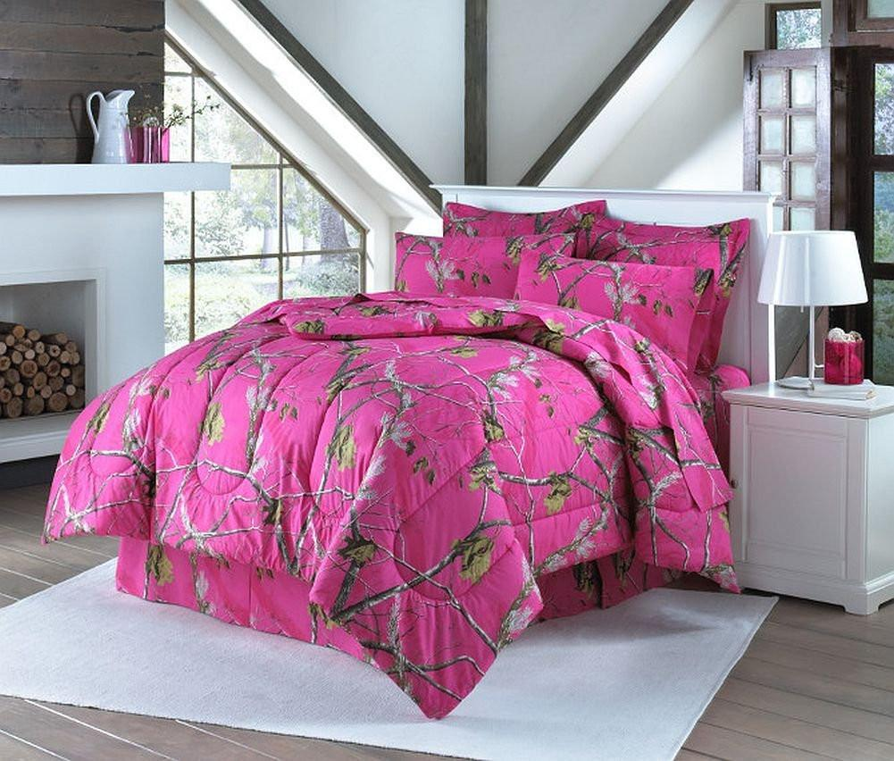 Realtree Hot Pink Queen Comforter Set with Shams and Bedskirt by