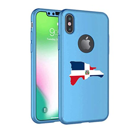 360° Full Body Thin Slim Hard Case Cover + Tempered Glass Screen Protector  for Apple iPhone Dominican Republic Dominican Flag (Light-Blue, for Apple
