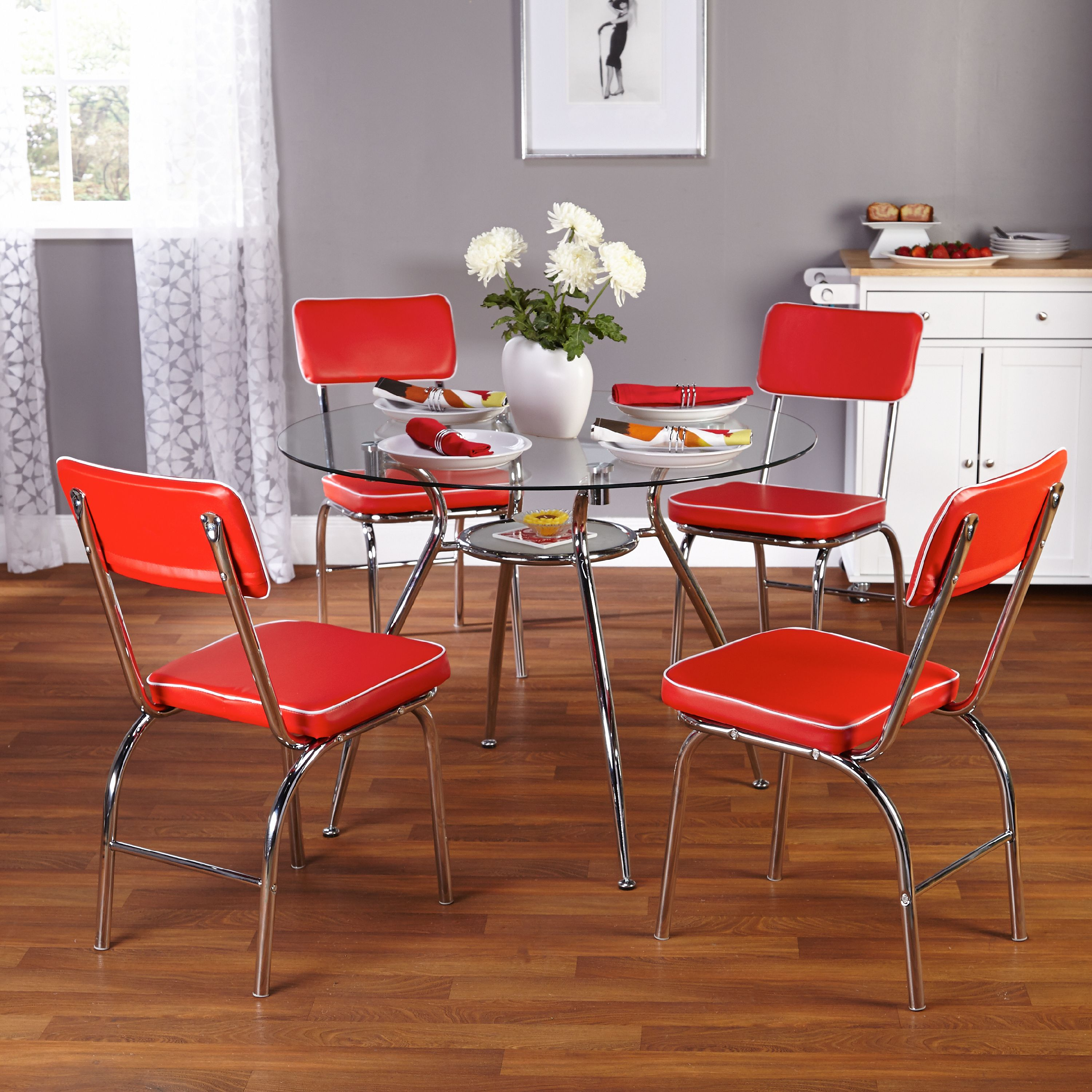 Mabel Retro 5-Piece Dining Set, Multiple Colors