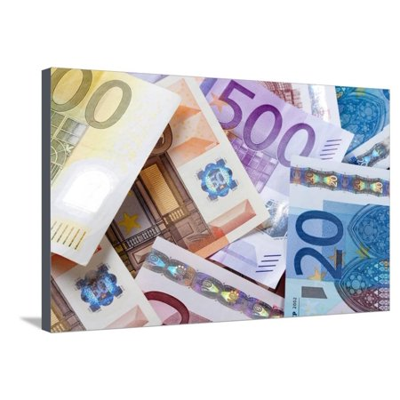 Euro - European Union Banknotes Stretched Canvas Print Wall Art By Green Light - Banknote Collection