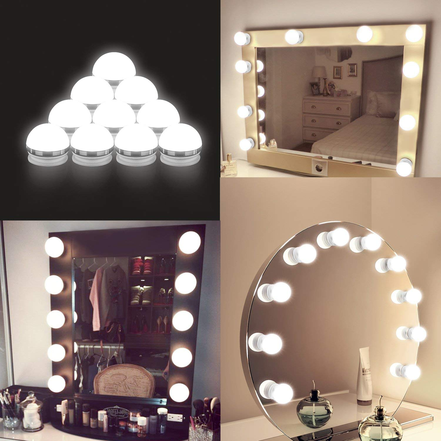Coolmade Vanity Lights Kit Hollywood Style Makeup Light Bulbs With Stickers  Attached To Bathroom Wall Or Dressing Table Mirrors, With Dimmable Switch  ...