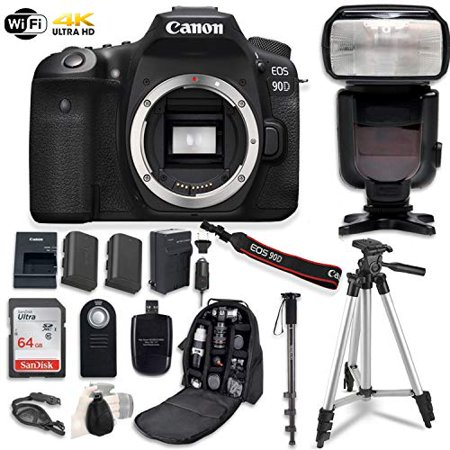 Canon EOS 90D Digital SLR Camera Bundle (Body Only) with Professional Accessory Bundle (14